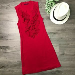 VELVET | Petite red ruffle front dress